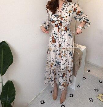 Chic retro Women Summer Dress 2020 Casual Long Sleeve Boho Floral Print Maxi Dress  Bandage Elegant Dresses Vestido chic long sleeve printed waist bandage bodycon dress for women