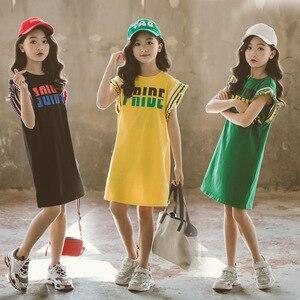 Детское летнее Повседневное платье для девочек 2020, новые хлопковые платья с буквенным принтом для девочек-подростков детская одежда платье...