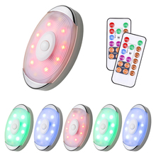 Wireless RGB LED Puck Lights Dimmable Under Cabinet Light Remote Control Closet Night