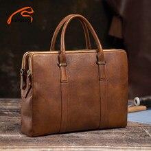 NUPUGOO – mallette Vintage pour hommes, sac à main à bandoulière en cuir véritable décontracté marron Business de bonne qualité, sac de bureau pour ordinateur portable