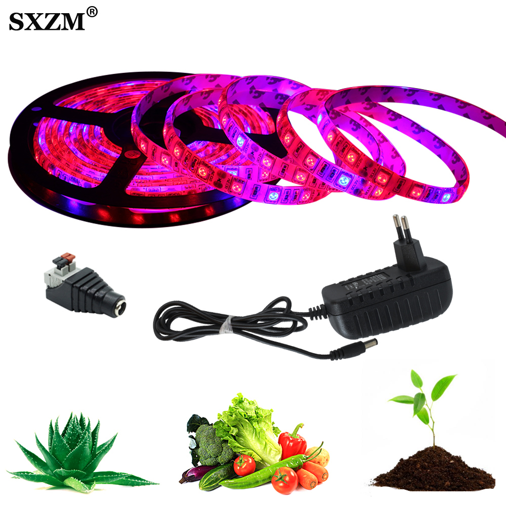 5M LED Phyto Lamps Full Spectrum LED Strip Light 5050 Chip 300 LEDs LED Fitolampy Grow Lights For Greenhouse Hydroponic Plant