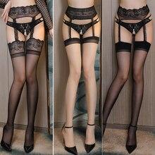 Сексуальные чулки до бедра для женщин, открытая промежность, кружевные верхние чулки, нижнее белье, подвязки, Колготки с вышивкой, пикантные женские чулки