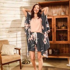 Image 4 - Ladies Floral Printed Deep Grey Elegant Sleepwear Women Wide Sleeve Loose 4Pcs Pajamas Set Soft Homewear Casual Wear For Spring