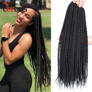 Leeons High Quality Braiding Hair Extension Synthetic Hair Braids Box Crochet Braids Brown Blonde Grey Burgundy Ombre