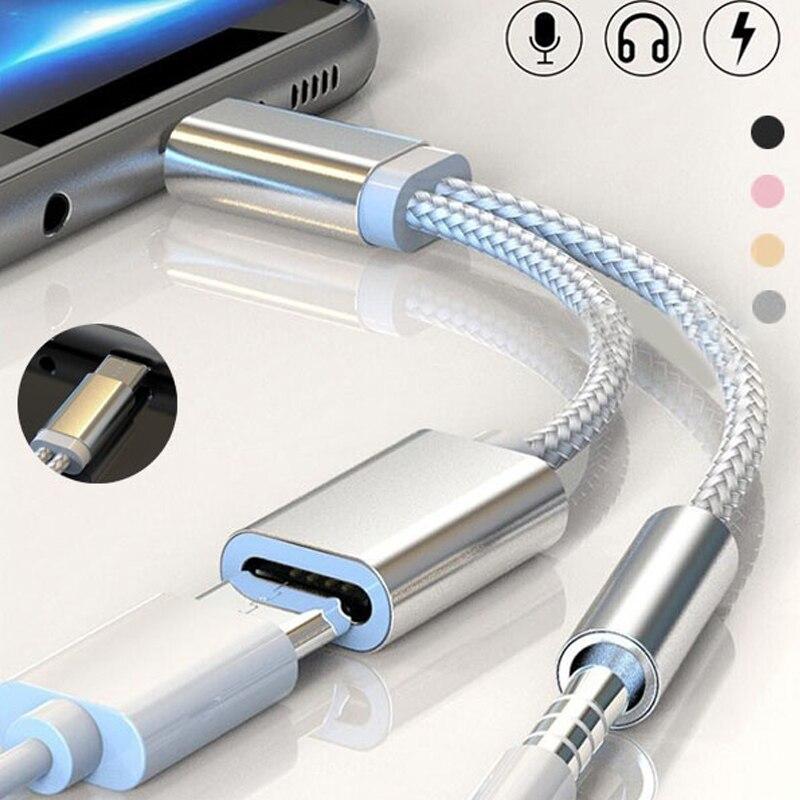 2 In 1 Type C Adapter For Huawei P30 P20 Mate20 Pro Honor20 Nova 5 Splitter Charging 3.5mm AUX Headphone Jack Adaptador Tipo C