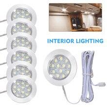 6 pçs branco led interior luzes do ponto lâmpada com caixa de conexão para 12v 3w carro campista van barco acessórios motorhome