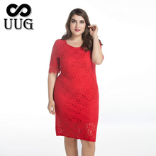 UUG Ladies New Arrival  Lace Dress Plus Size 8XL Female Clothing Red And White 9XL Summer Sexy Big 10XL