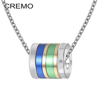 Cremo New Arrival Personalized Charm Pendant Necklace Femme Bijoux Stainless Steel Chain Rotating Neckalce Jewelry