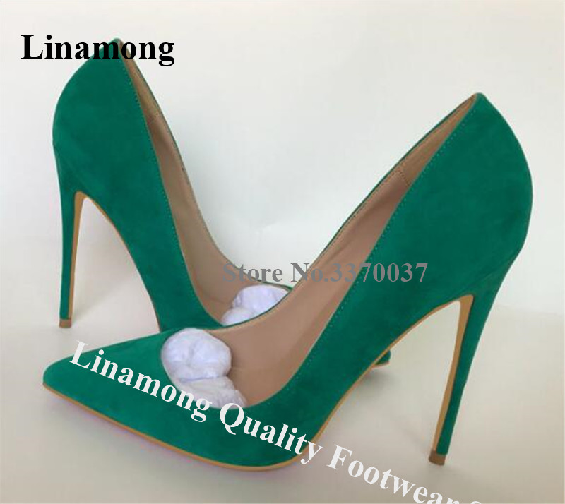 Linamong Suede Leather Stiletto Heels Pumps 12cm Slip-on Pointed Toe Green Purple High Heels Sexy Women Dress Shoes 45 Big Size(China)