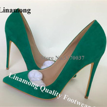 Linamong Suede Leather Stiletto Heels Pumps 12cm Slip-on Pointed Toe Green Purpl