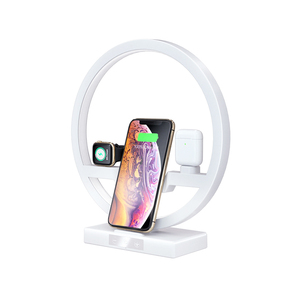 Image 1 - Qi carregador sem fio para iphone 11 pro max samsung suporte do telefone com lâmpada led estação de carregamento doca para airpods iwatch 5 4 3 2 1