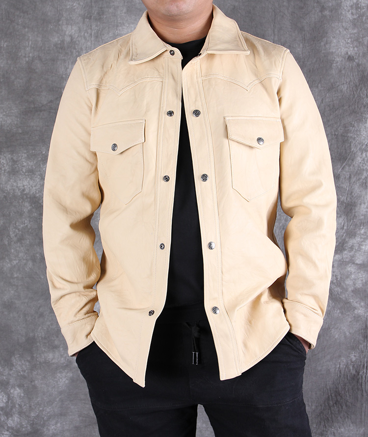 TOP 2020 Men Genuine Leather Shirt Soft Sheepskin Shirts Men Black Fold Thin Leather Jacket Men Tight Style Shirt S-XXXL