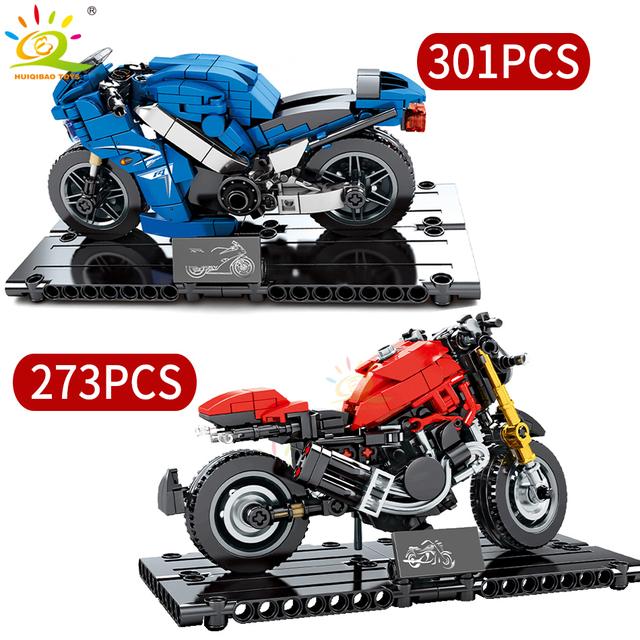 HUIQIBAO Motorcycle model Building Blocks Speed Champions Auto cycle Moto car Technic Bricks Educational Toys for Children Boy
