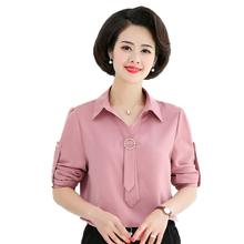 купить Women Elegant Shirts Green Pink Roll-Tab-Sleeve Design Silk Ribbon Knot Turn Down Collar Blouse Smart Casual Top Office Lady дешево