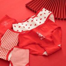 Женские хлопковые трусики красные для девочек пикантные со средней