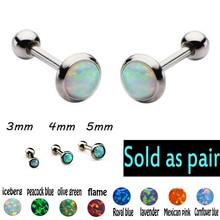 1 Pair 3-5mm Opal Ear Cartilage Earrings Women Stainless Steel Helix Piercing Barbell Oreja Sexy Body Jewelry