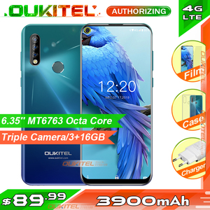 Image 1 - OUKITEL C17 6.35 Triple กล้องสมาร์ทโฟน MT6763 OCTA Core Android 9.0 3GB 16GB Face ID ลายนิ้วมือ 4G โทรศัพท์มือถือ 3900mAh