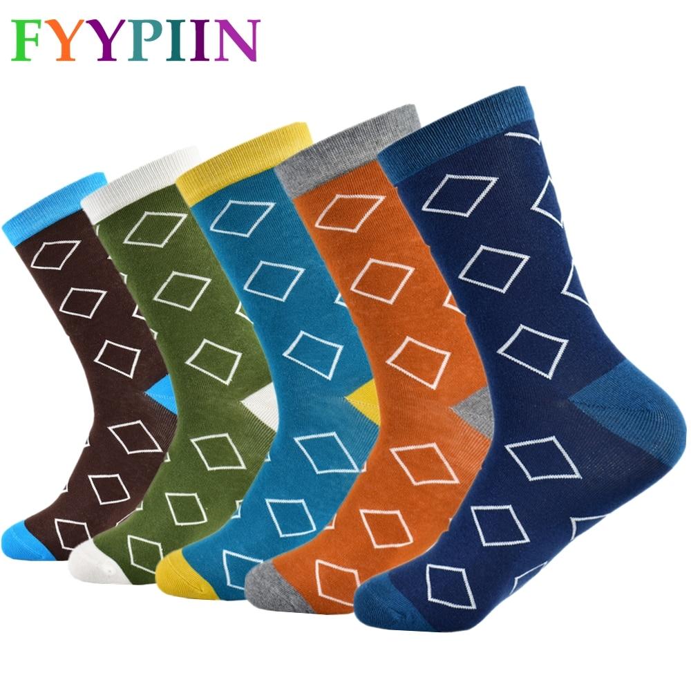 Casual Special Offer Standard Mens Socks 2019 Men Socks In The Diamond Lattice New Trend Of Cotton Happy Fashion Men's