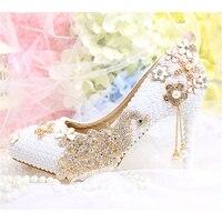 Pearl Wedding Shoes Crystal Tassel Bridal Women's Pumps Pointed Toe Rhinestone Peacock Female High Heels Ladies Platform Shoes