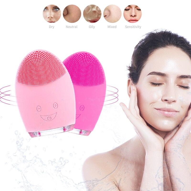 Mini brosse nettoyante visage electrique batterie électrique visage brosse de nettoyage du visage outil Silicone nettoyant pores profonds étanche beauté doux nettoyage en profondeur brosse visage nettoyante electrique