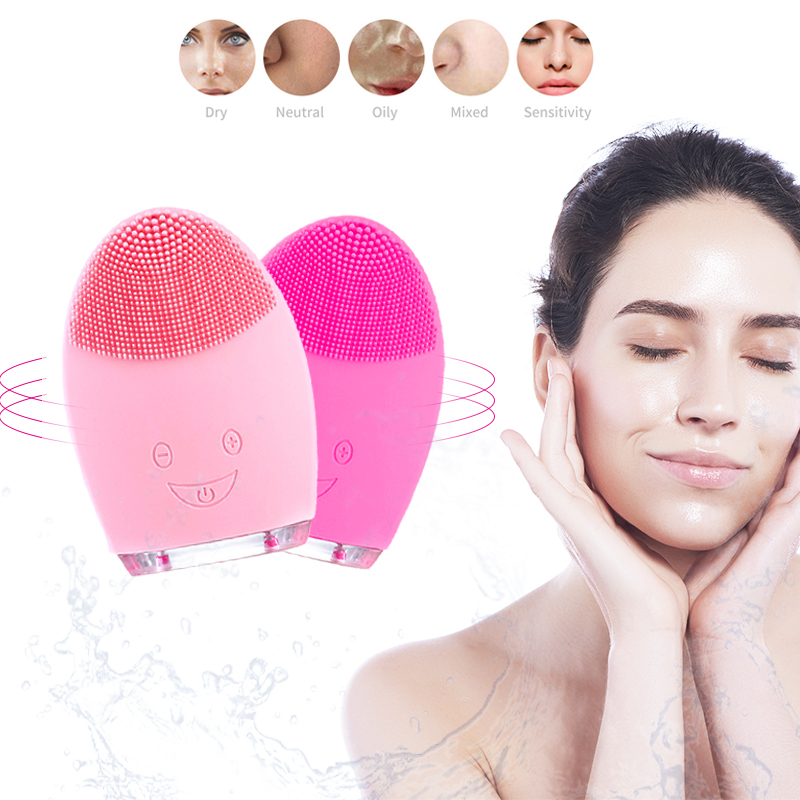 New Mini Battery Electric Face Cleansing Brush Tool Silicone Cleaner Deep Pore Waterproof Beauty Soft Deep Cleaning Face Brushes