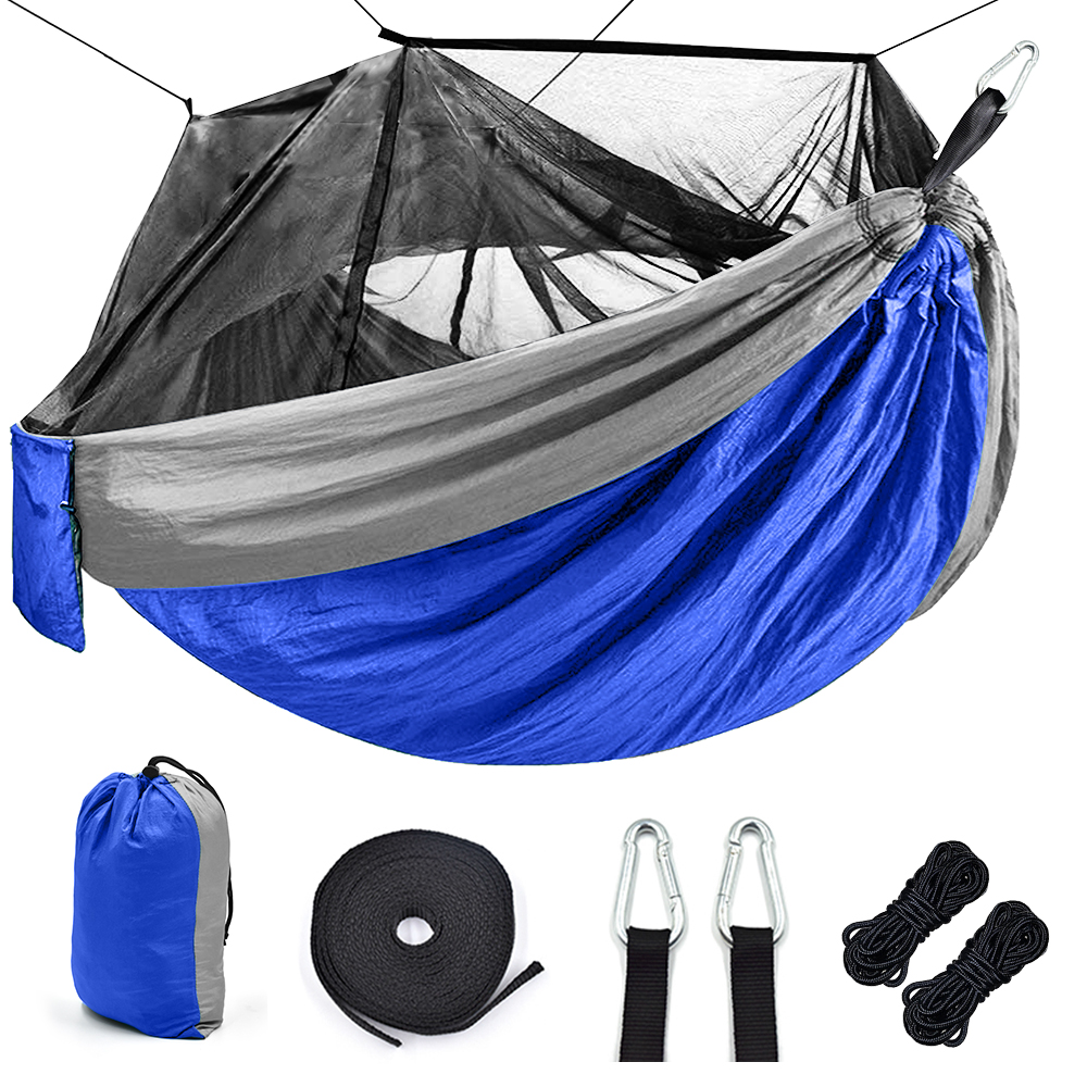 Portable Outdoor Camping Hammock with Mosquito Net High Strength Parachute Fabric camping hammock Hunting Hanging Sleeping Swing(China)
