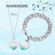 Tiff HGMEIKAINI 925 sterling silver bracelet in Europe and the original 1:1 enamel ms green spray love jewelry gifts