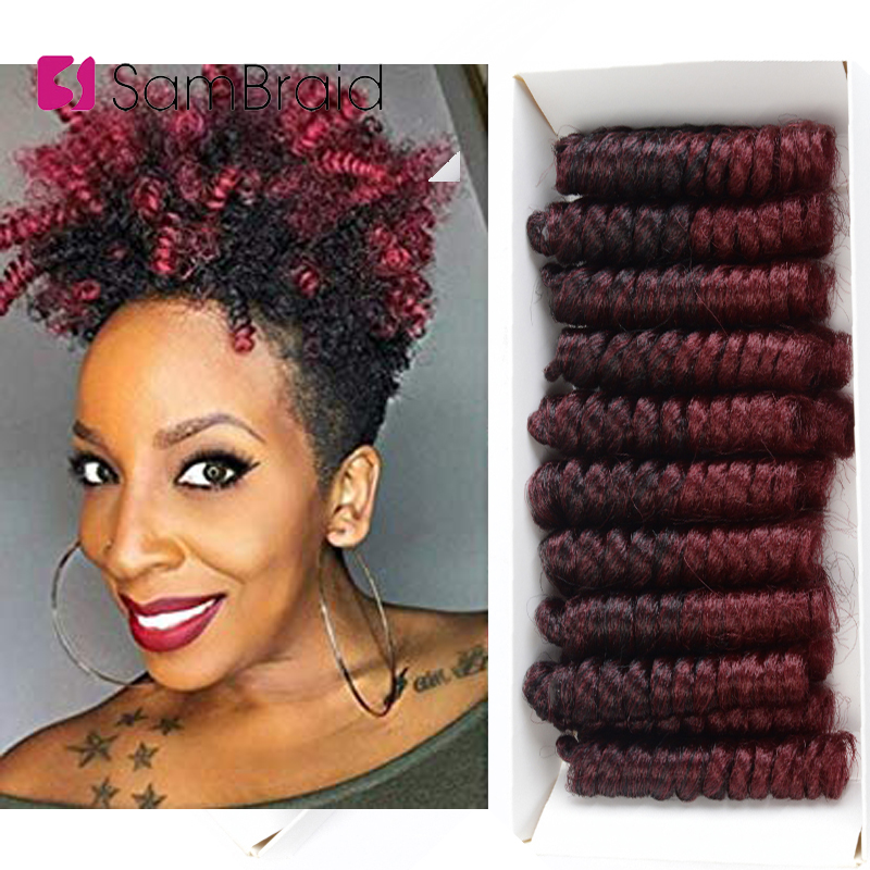 SAMBRAID 6 Inch Short Curly Spring Crochet Braiding Hair For Women 20 Roots/pack Synthetic Crochet Braids Hair Extensions