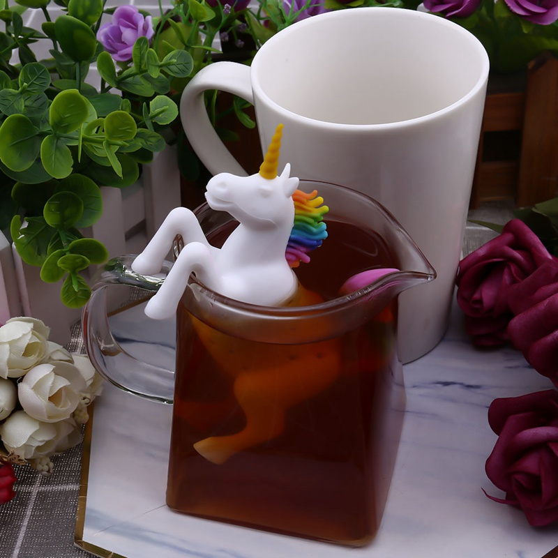 1PC Creative Food-Grade Unicorn Shape Silicone Tea Infuser Strainers Filter Loose Tea Bag Leaf Herbal Spice Filter 2019 New Come