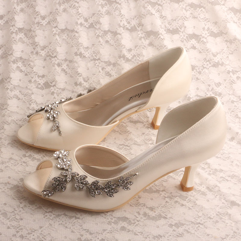Ivory Pumps Open Toe Handmade Shoes For Wedding Slip On