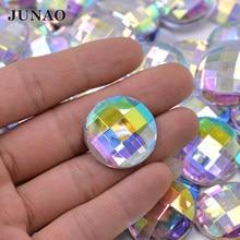 JUNAO – Strass AB transparents de 6 8 10 12 18 20 30 35mm, pierres acryliques rondes Non cousues à dos plat, artisanat en cristal