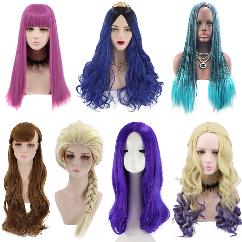 Movie Descendants 3 Evie Mal Uma Cosplay Wig Adult Women Men Halloween Party Mermaid/Joker/Anna Wig Role Play C35826AD