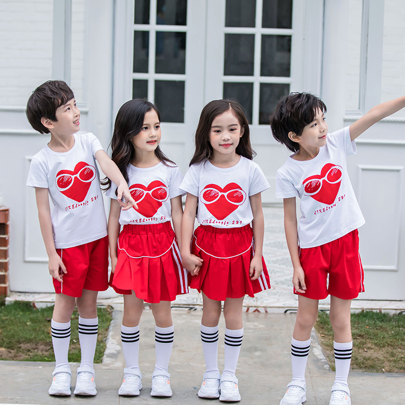 Young STUDENT'S School Uniform Summer Set Children Business Attire Graduation Kindergarten Suit Lower Apron Cotton Performance W