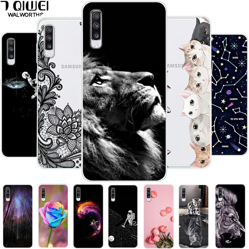Phone Case For <font><b>Samsung</b></font> Galaxy <font><b>A70</b></font> <font><b>2019</b></font> Case Silicone Soft Lion TPU <font><b>Cover</b></font> For <font><b>Samsung</b></font> <font><b>A70</b></font> Case A 70 A705F 6.7 Cute Cat Hoesje image