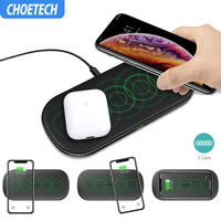 CHOETECH 5 Coil Wireless Charger For iPhone X XS Max 8 Plus Dual Fast Wireless Charging Pad For Samsung S9+ S8+ Note 9 Note 8