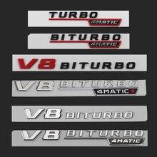 Letter Emblem for Mercedes Benz AMG V12BITURBO V8 BITURBO 4MATIC+ TURBO 4MATIC Car Styling Fender Logo Sticker Chrome Black Red
