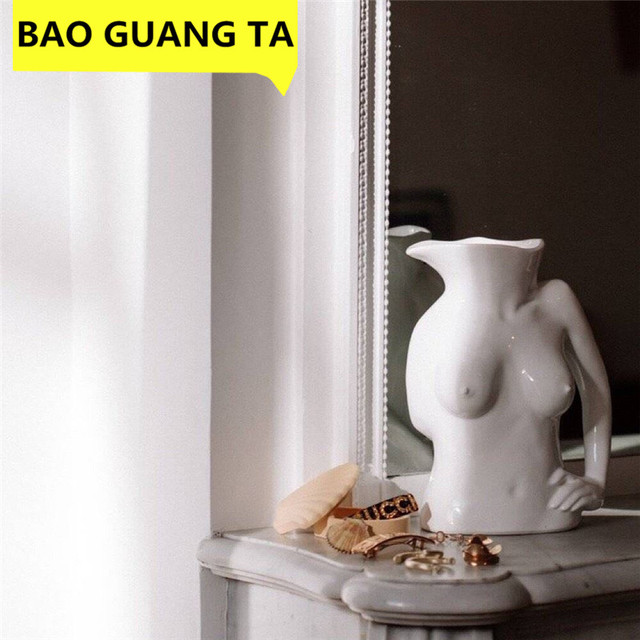 BAO GUANG TA Arts Girl Bust Vase Decor Interest Ass Statue Woman Model Vase Flower Pot Home Decoration Accessories Gift R5196 1
