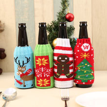 Wine Bottle Cover Knitted Bag Xmas Party Dinner Table Decor Christmas Supplies DC112