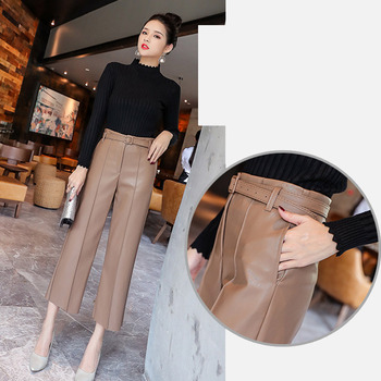 Autumn Faux PU Leather Pants Women With Belt High Waisted Wide Leg Anke-length Women's Trousers 2020 Spring NEW Fashion Clothes 4