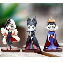 Disney 3 pçs q posket petit vilões definir descendentes 2 maleficente cruella de vil rainha figura de ação modelo brinquedos para crianças
