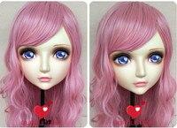(DM083) Girl Sweet Resin Japanese Anime Kigurumi Mask Cosplay Lolita Crossdressing Lifelike BJD Masks Eye's Color for Choose