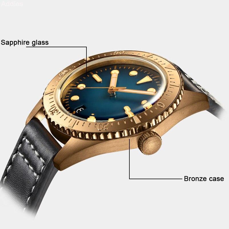 Image 5 - NH35A Movement Men Vintage Bronze Watch Automatic diving Watch 200m Water Resistant Bronze Bezel Retro Wristwatch Relojes HombreMechanical Watches   -
