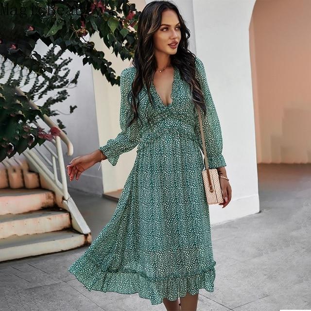 Women V Neck Print Dress Casual Butterfly Sleeve High Waist Dress Ladies Summer Chiffon Dress 5