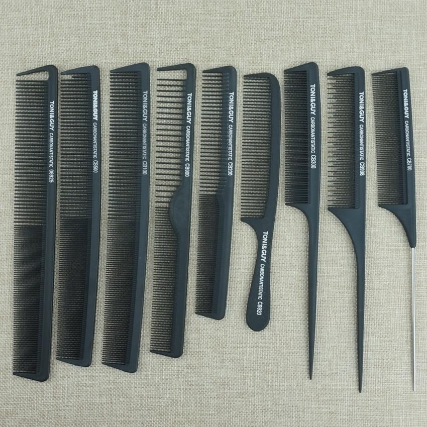 Парикмахерская расческа 9 шт., углеродная Антистатическая термостойкая, черная, для ухода за волосами, инструменты для укладки