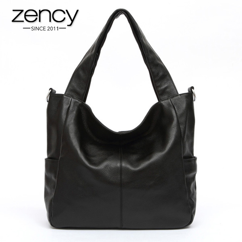 Zency 100% Natural Leather Elegant Women Shoulder Bag Classic Black Tote Hobos Daily Casual Shopping Bag Lady Crossbody Coffee-in Top-Handle Bags from Luggage & Bags    1