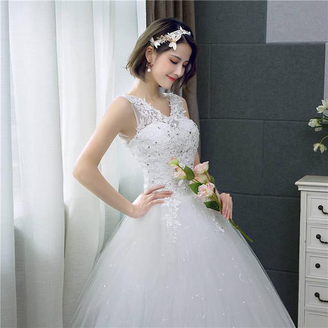 It's yiiya vestido de noiva com decote em v, vestido de casamento simples com lantejoulas brancas, barato, de noiva hs288 4