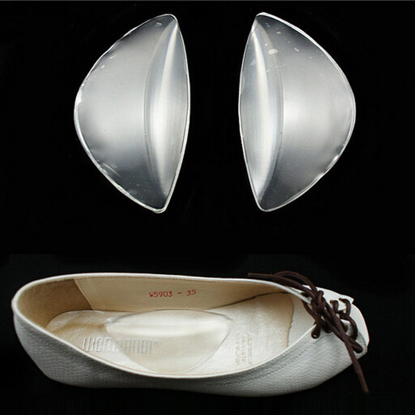 1pairs/lot Clear Silicone Gel Arch Support Shoe Inserts Foot Wedge Cushion Pads Pain Relief Flat Feet  Insoles