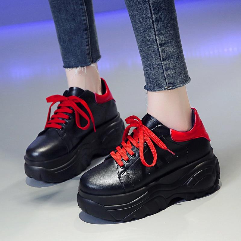 Platform Hidden Increasing 7 CM Pumps 2020 Fashion Breathable Women Wedge High Heels Spring Autumn Casual Ladies Shoes 35-39