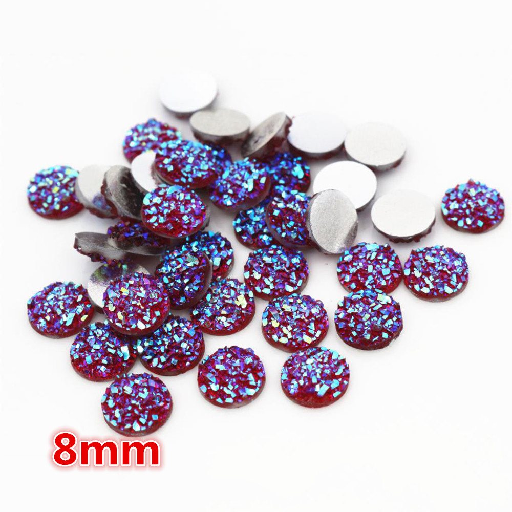 New Fashion 8mm 40pcs Red AB Colors Natural Ore Style Flat Back Resin Cabochons For Bracelet Earrings Accessories-O5-08