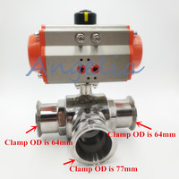 Sanitary Stainless 304 Three way L port Tri Clamp Pneumatic Ball Valve Central Clamp OD is 77cm